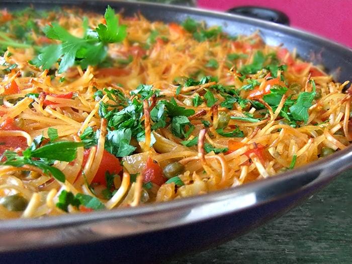 Receta de Fideuá o Paella Vegetariana