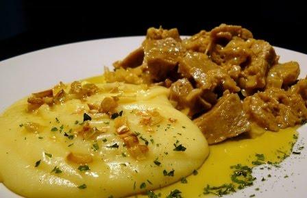 Seitán con crema de patatas cocina vegetariana